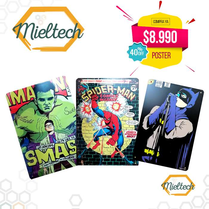 Afiches Poster Metalico Retro Vintage Placa Comics Marvel Dc
