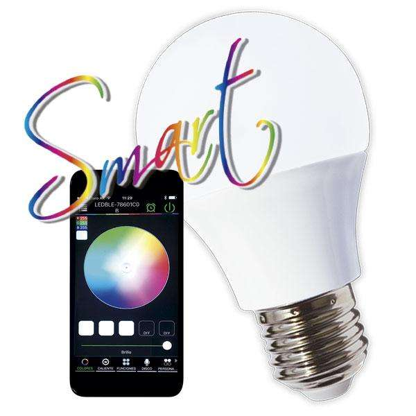 Lampara Led Smart Bulbo A60 Tbcin E27 Rgb 5w Bluetooth Control App Movil