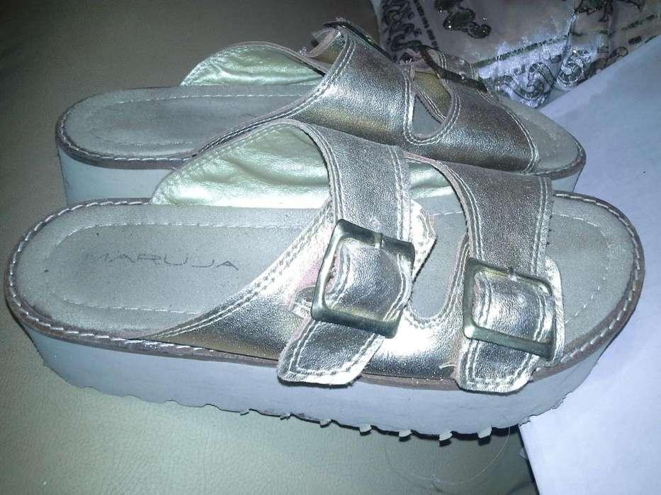 Sandalias Chinelas Doradas N37 Plataformas Excelentes Estado!