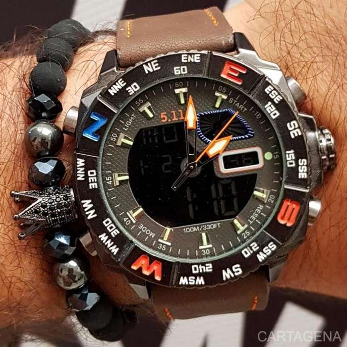 Reloj Swiss pulso marron con negro para hombre