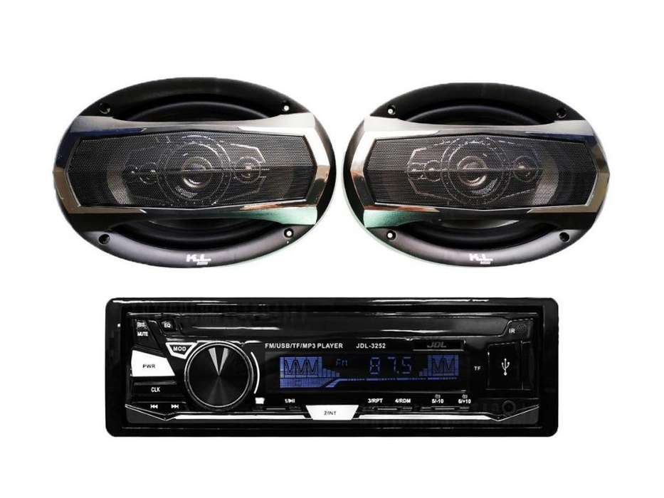 PAGO CONTRA ENTREGA, Combo Radio Para Carro Usb, Parlantes Kl Audio Ovalados 6x9