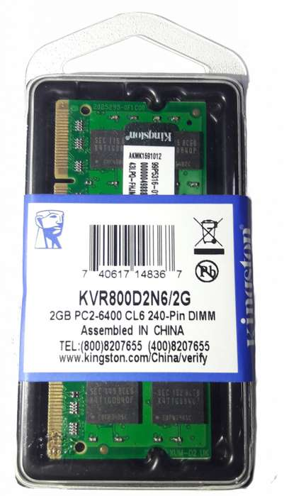 Memoria SODIMM DDR2 2 gb 800 mhz Kingston nuevo para laptop