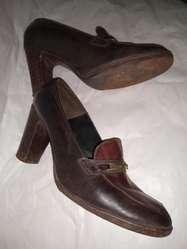 Zapatos vestir 38 cuero negro bordo Taco 8cm Ancho3  poco uso