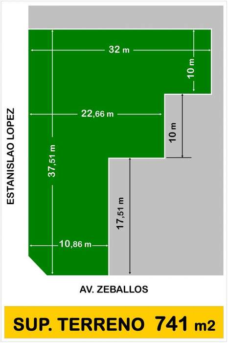 Av. Zeballos. CASTELAR. LOTE 741 m2