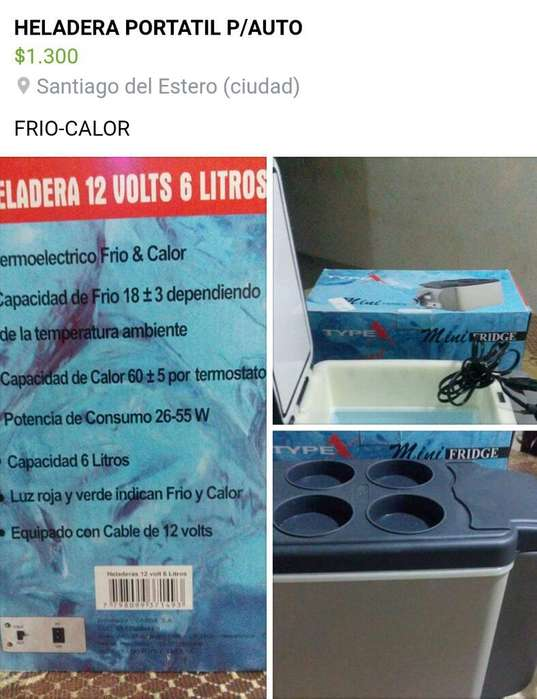 Vendo Heladera Portatil de 12 V Frio Cal