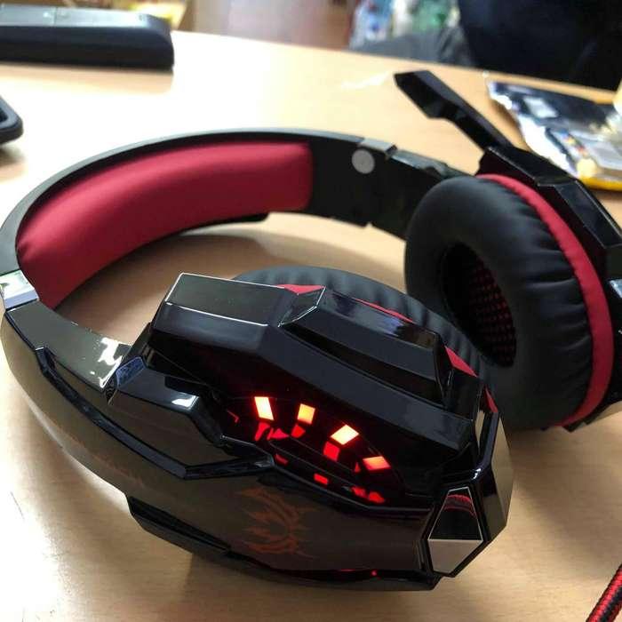 Auriculares Gamer Con Luz Y Microfono Pc 69000 Rojo