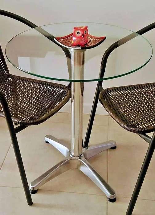 Mesa <strong>aluminio</strong> Tapa Vidrio Auxiliar Balcon Jardin Bistro 60cm