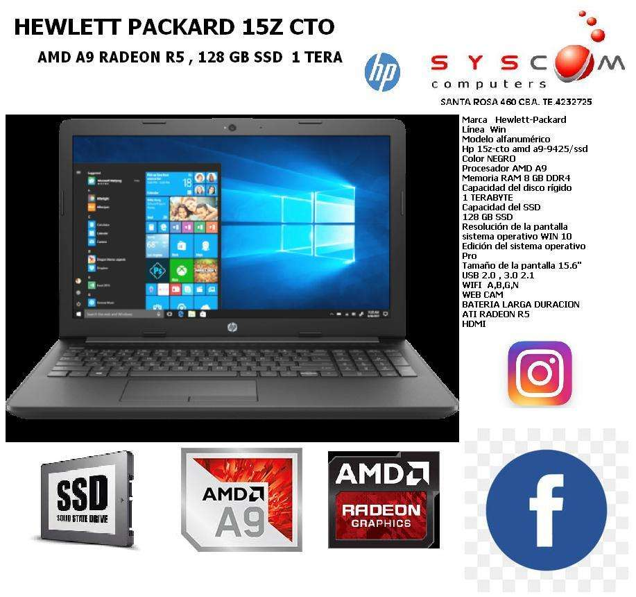 NOTEBOOK  SUPER POTENTE     SSD  1 TERA  8GB DDR4    A9 CON ATI RADEON R5