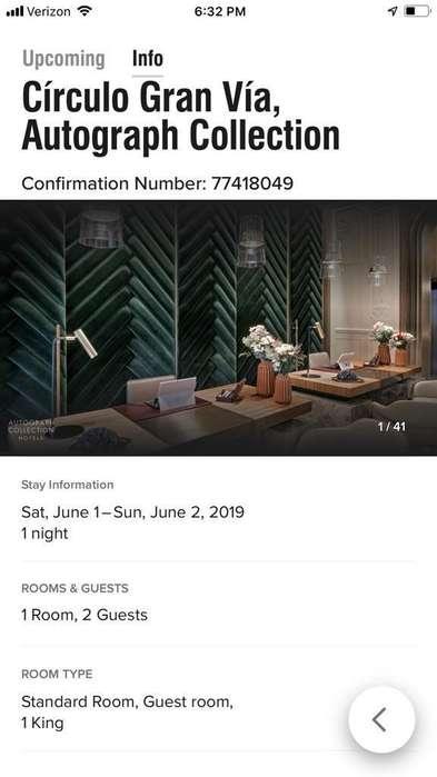 Alojamiento en Madrid del 1 al 2 de junio de 2019