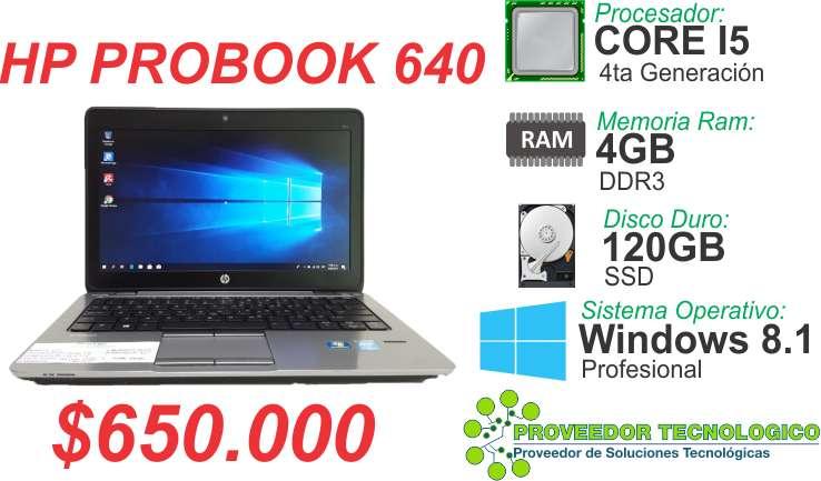 PORTATIL HP PROBOOK 640 COREI5 4TA GENERACION RAM 4GB DISCO DURO 120GB SSD