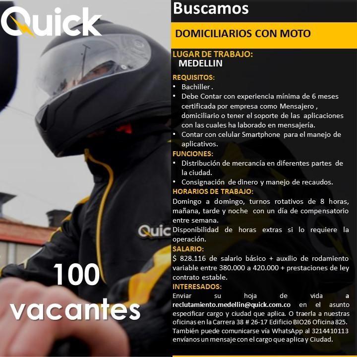 Atención Mensajeros Motorizados,Domiciliarios,Instaladores,TaT con moto!