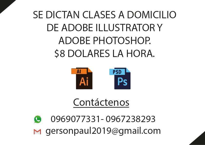 8 Dolares la hora de Clases a Domicilio Adobe Illustrator y Photoshop