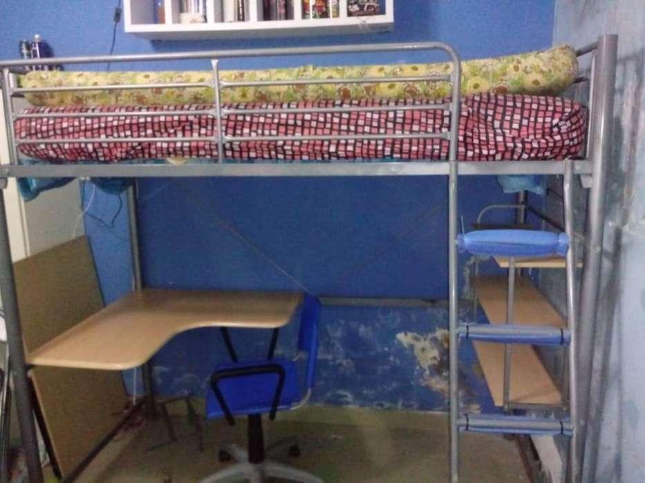 Cama Alta con <strong>escritorio</strong> Y Estanteria