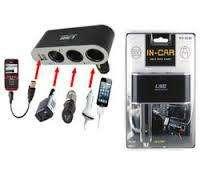 Cargador Auto Triple Socket 12v 24v Usb Celulares Gps Cable