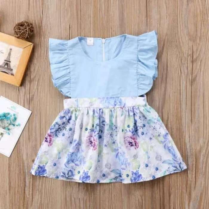 Vestido para Niñas Azul - Flores