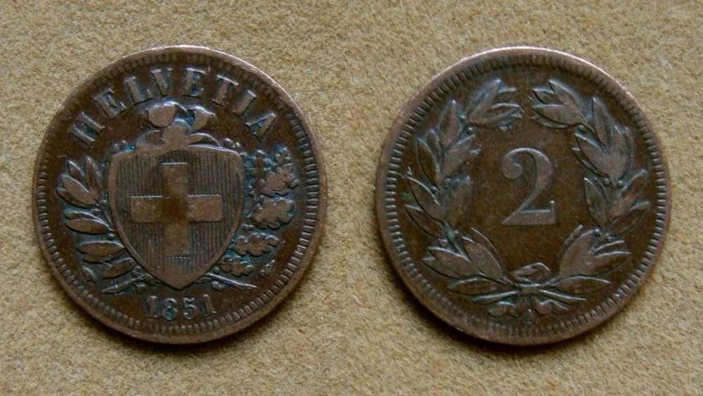 Moneda de 2 rappen Suiza 1851