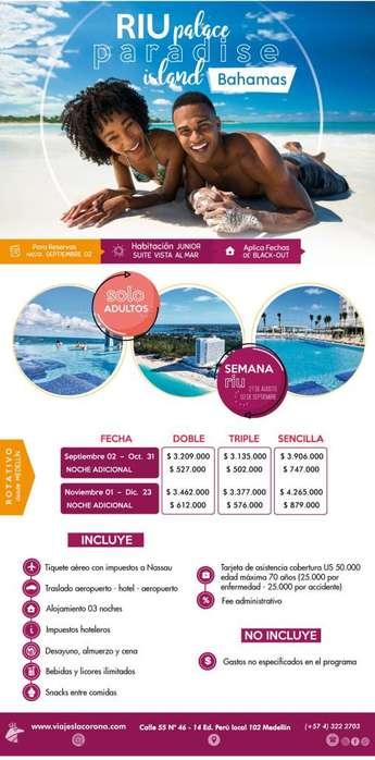 Viaje como un Rey a Bahamas H. RIU PALACE PARADISE ISLAND con Viajes la Corona