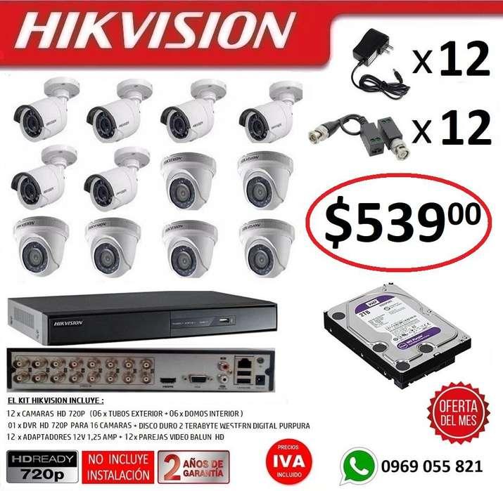 Combo 12 Camaras Seguridad Vigilancia Hd 720p Hikvision DVR 16 Camaras 1080P