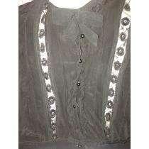 <strong>camisa</strong> Seda Negra Puntillas Botones Perla Negra 1940