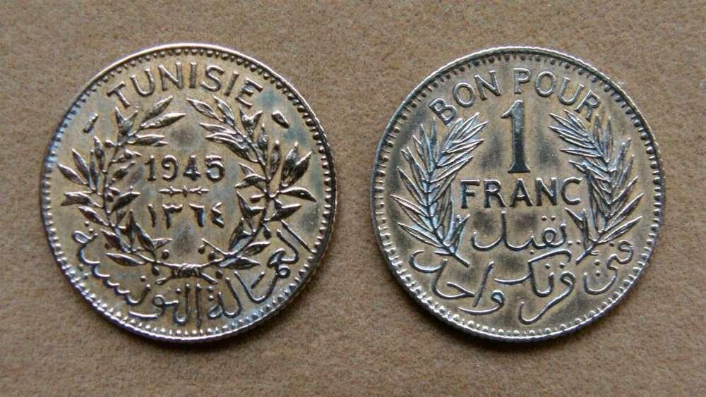 Moneda de 1 franco Túnez 1945
