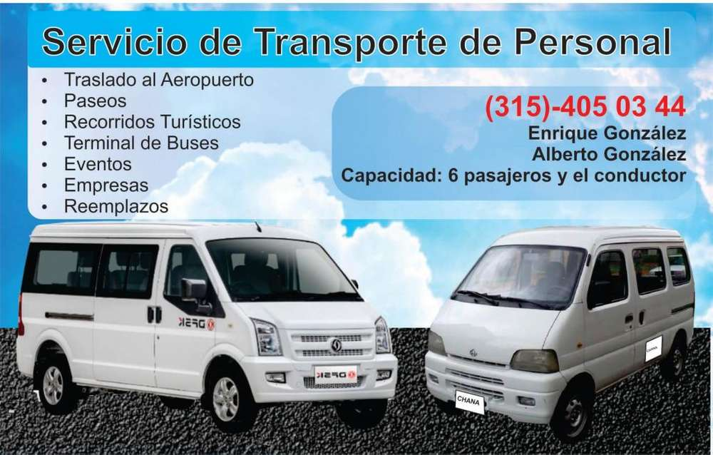 Servicio de Transporte (315)-405-03-44 Capacidad: 6 Pasajeros y el Conductor