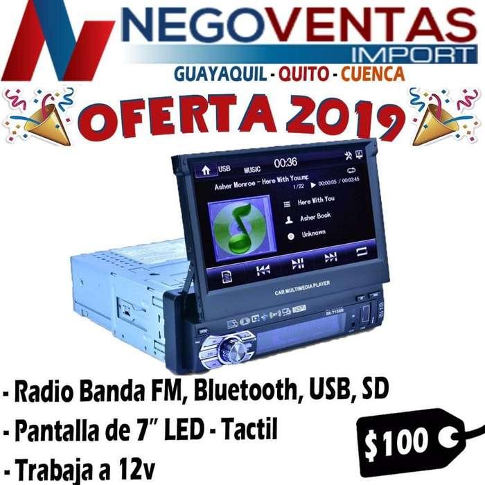 RADIO PARA CARRO RETRACTIL USB SD AUX FM BT PANTALLA 7 PULGADAS