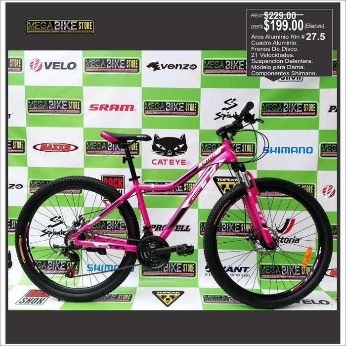 Bicicleta Para Mujer Aro 27.5 Aluminio, Frenos de disco , cuadro especial para mujer rin 27.5 . suspension , montañera