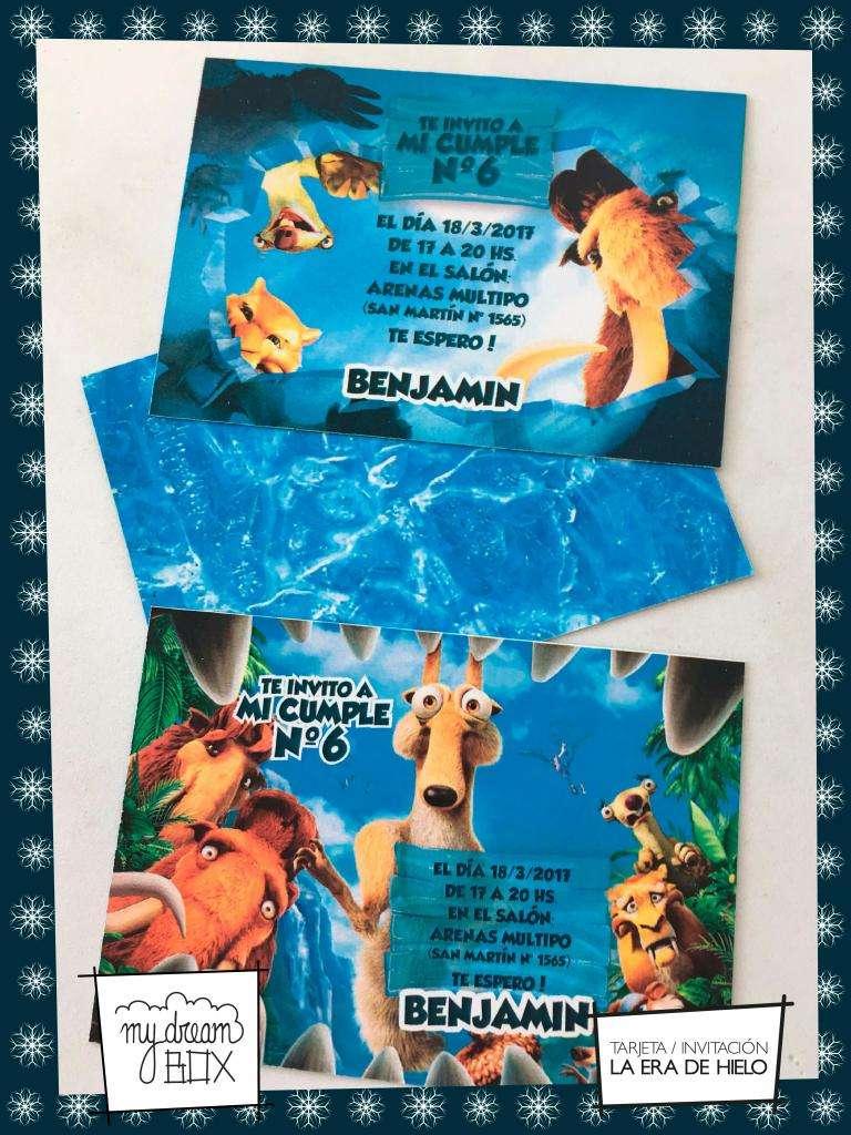 Souvenir Tarjetas Invitacion Era De Hielo Cumple Infantil