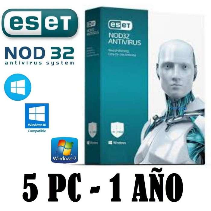 Eset Nod32 Antivirus 2019 version 12 Licencia Original 1año x 5 equipo