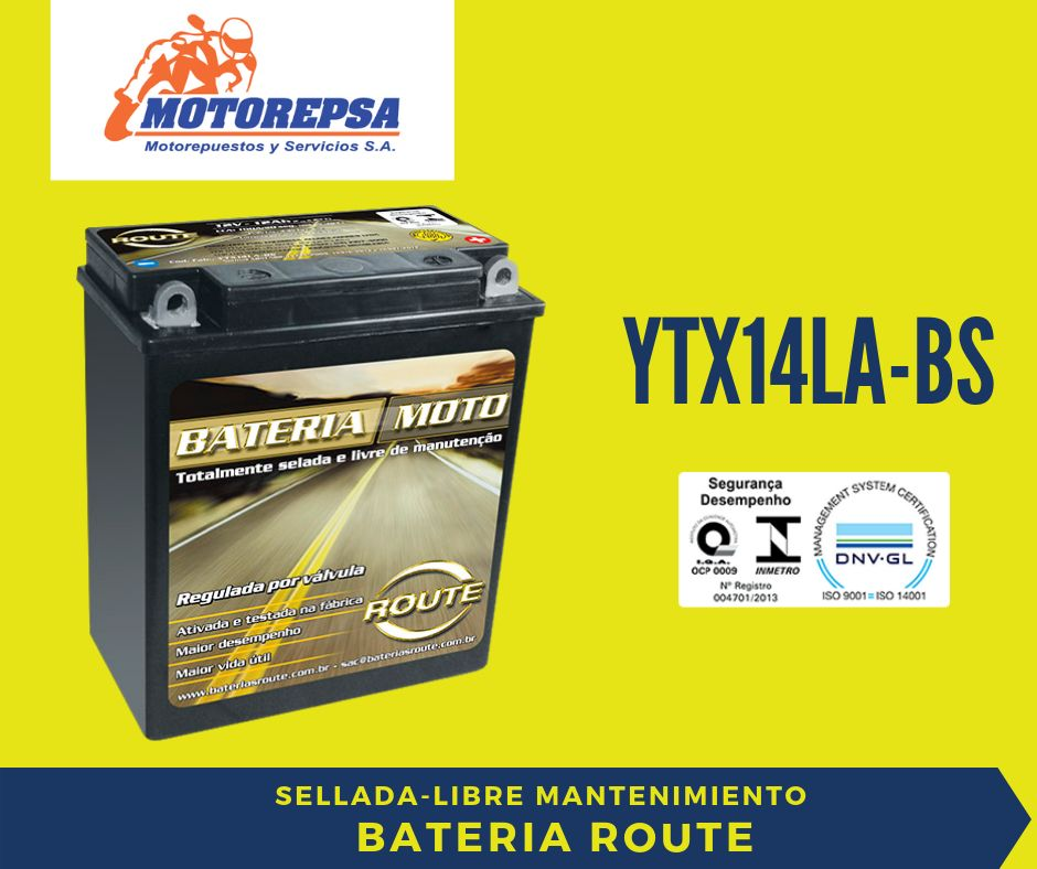 Bateria ROUTE para MOTO YTX14LA BS / 12V12Ah