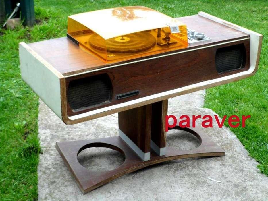 Muy Raro Combinado Mueble Diseño Retro Vintage Funciona Bien cúpula acrílico