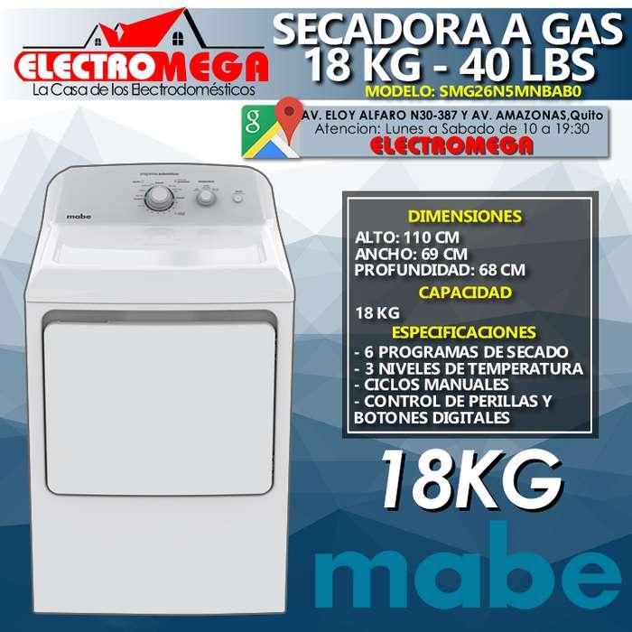Secadora De Ropa A Gas Mabe 18kg 40lbs Blanca Smg26n5mnbab