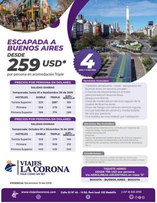 Viaje como un Rey a Buenos Aires con Viajes la Corona