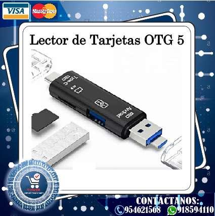 Adaptador, Lector de tarjetas OTG 5 en 1