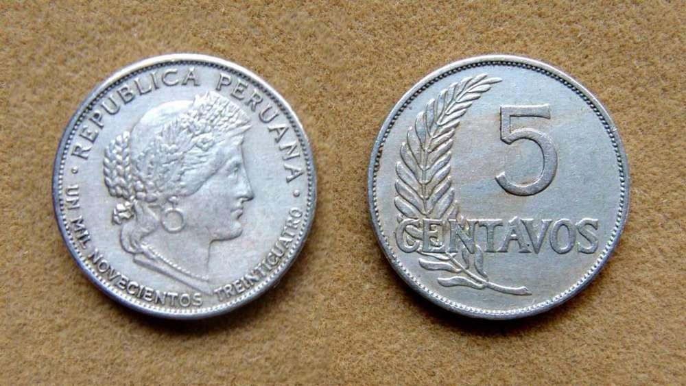 Moneda de 5 centavos Perú 1934