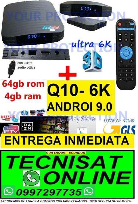 TV BOX ANDOWL Q10 - 6K, 4GB RAM 64GB ROM, ANDROI 9.0 NETFLIX, YOUTUBE, SERIES, TV VIVO CON MARCADOR HORA TVBOX