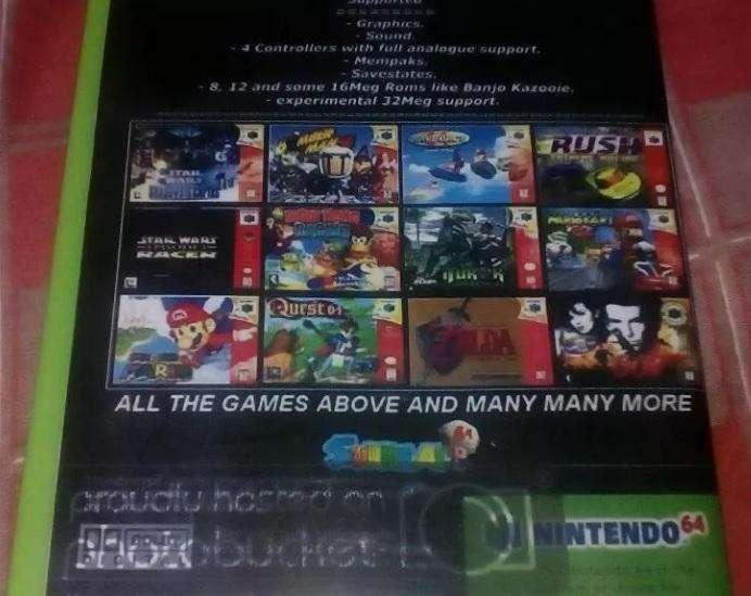Vendo emulador nuevo con juegos de Nintendo 64 listo para ser instalado y jugado en su computadora o laptop
