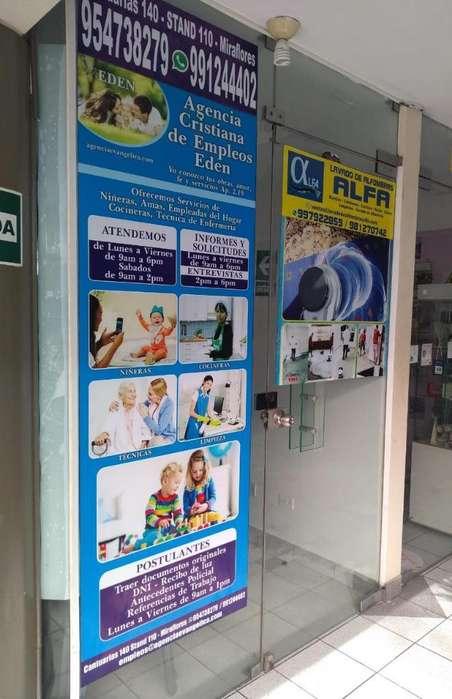Niñeras en Miraflores Ofrece Empleadas
