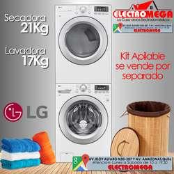 COMBO LG Lavadora 17Kg Secadora Eléctrica / Gas 21 Kg 46 Lbs Blanca