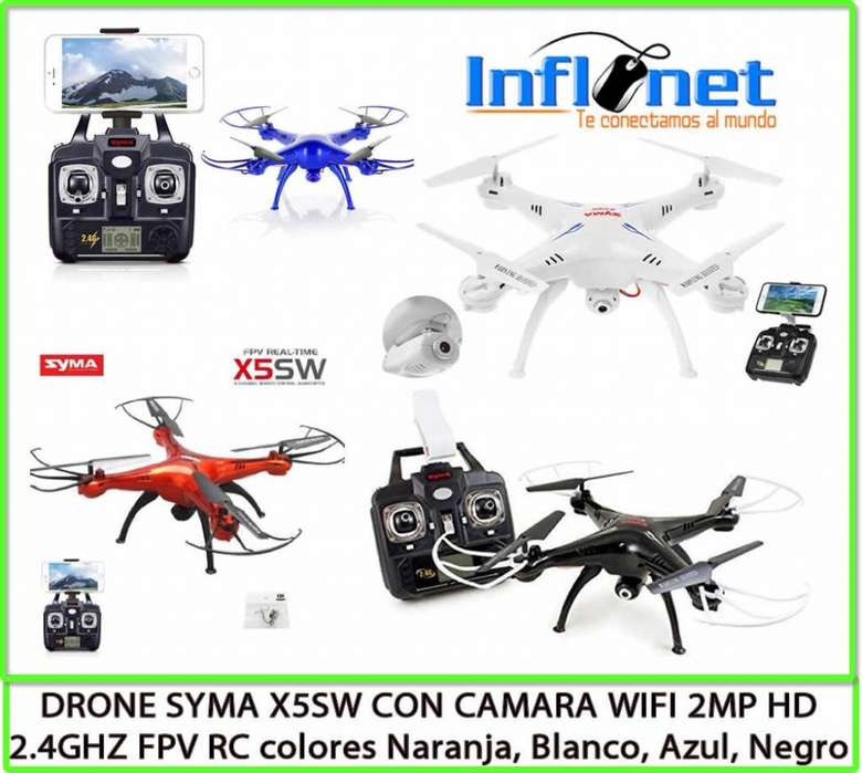 DRONE SYMA X5SW CON CAMARA WIFI 2MP HD 2.4GHZ FPV RC Disponible en Color Blanco Negro Naranja Azul