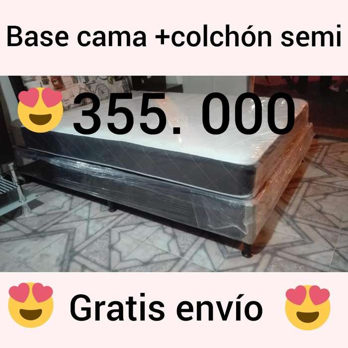 Base Cama Y Colchón Semi