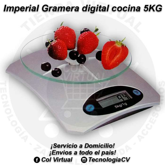 Gramera digital cocina 5KG vidrio templado marca Imperial 4238MT20 R0440 colvirtual tecnologiacv