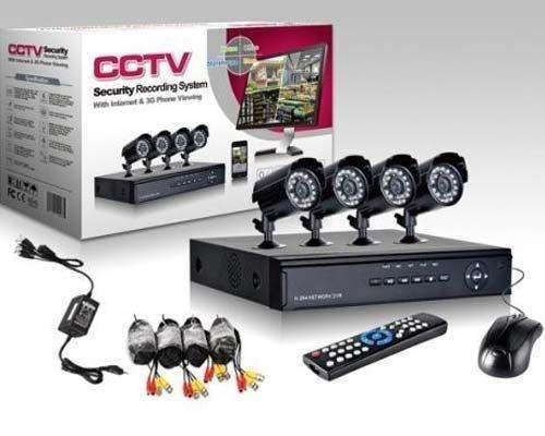 KIT 4 CÁMARAS DE SEGURIDAD CON DVR DISCO DURO DE 500 gb