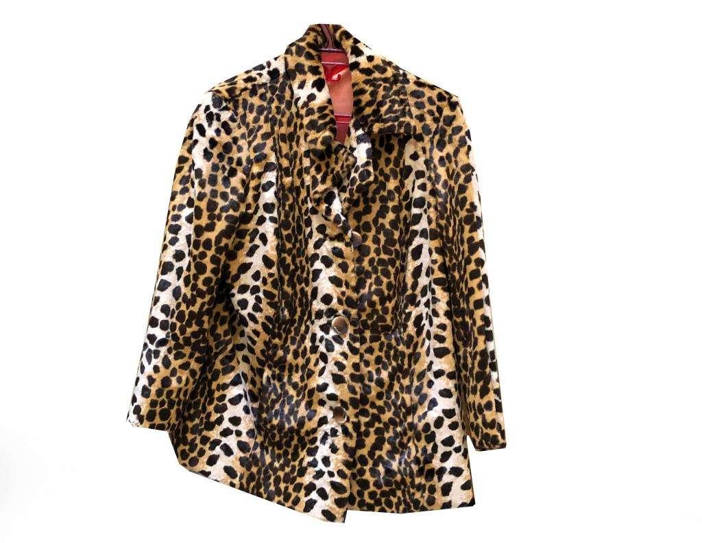 Tapado Leopardo Talle 2 Mujer Perfecto Estado