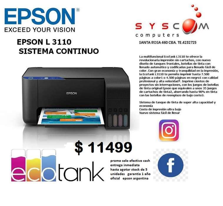 EPSON L3110 SISTEMA CONTINUO DE FABRICA 1 AÑO DE GARANTIA