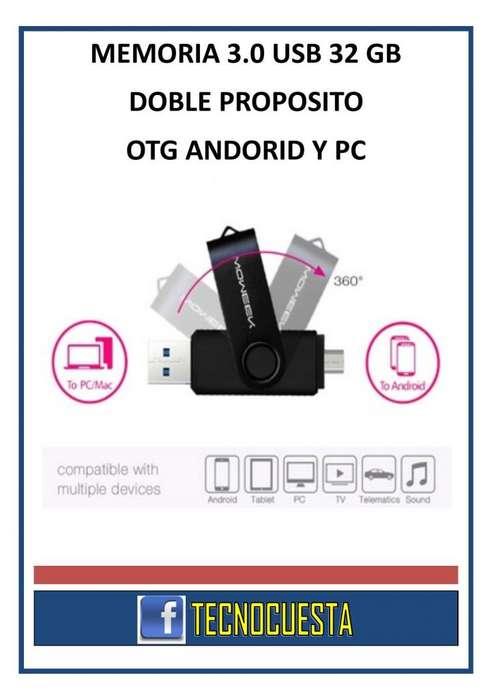 MEMORIA USB 3.0 DE 32 GB DOBLE PROPOSITO ANDROID Y PC