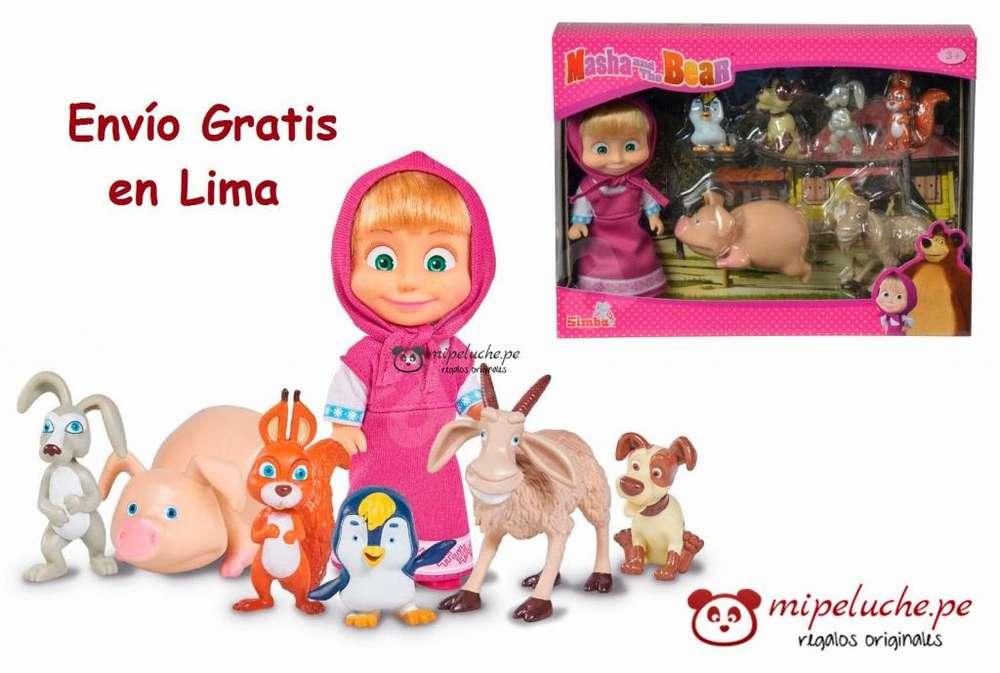 Masha Con Sus 6 Amigos, Animales Original Marca Simba Masha y el Oso