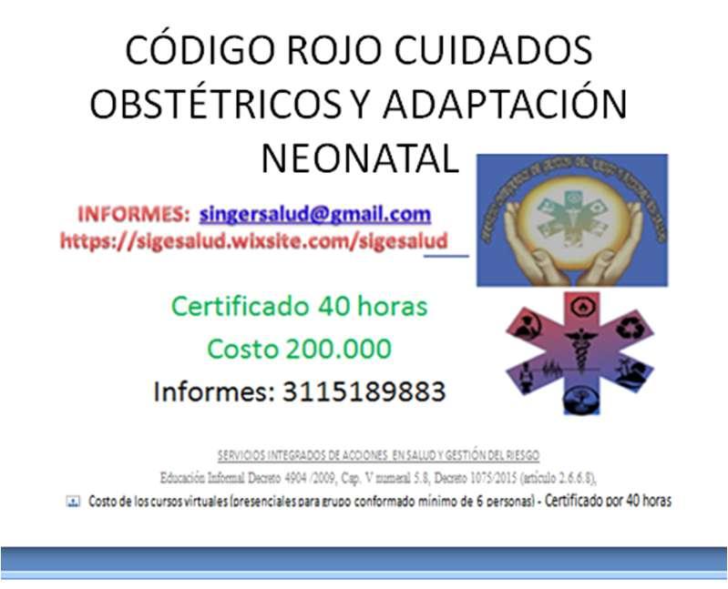 200.000 curso virtual CÓDIGO ROJO CUIDADOS OBSTÉTRICOS Y ADAPTACIÓN NEONATAL