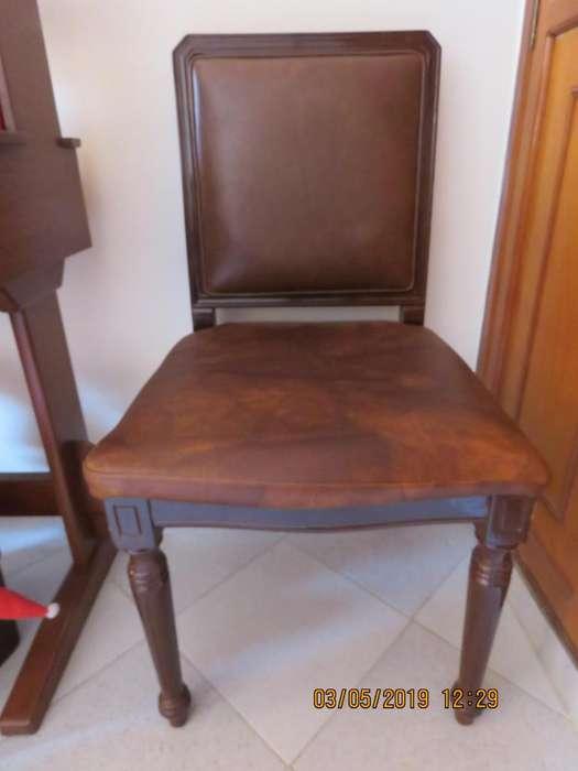 VENDO <strong>silla</strong> en madera y cuero