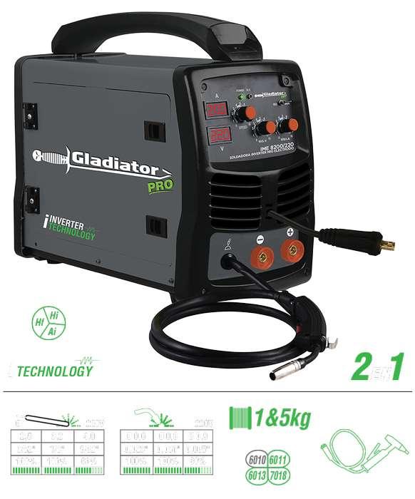 SOLDADORA INVERTER MIG ELECTRODO 2 EN 1 IME 8200/220